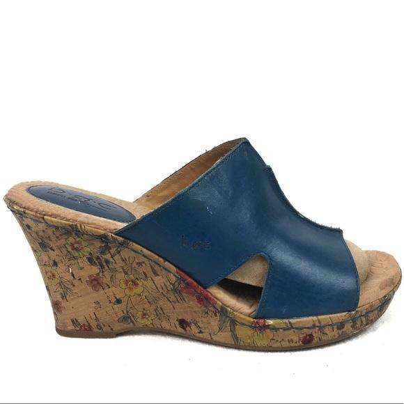 Bøc | Women's Blue Leather Floral Open Toe Wedges